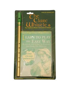 CLARE TIN WHISTLES - D - BRASS WHISTLE & LEARN TO PLAY PACK