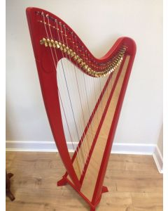 34 STRING CLADDAGH HARP - EMBLEM RED